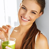 Smiling Woman With Healthy Drink